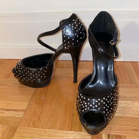 Black rhinestone platform pump size 7 high heel